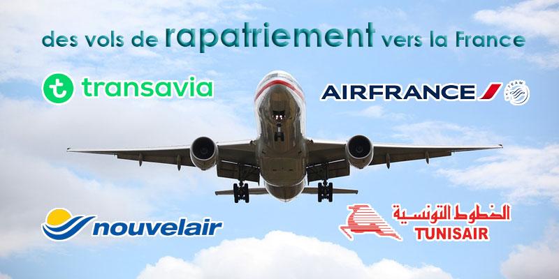 Planning des vols de rapatriement vers la France, les 17 et 18 mars